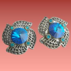 1960s Clip Earrings Rivoli Rhinestone Gorgeous Blue