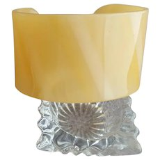 Cuff Bracelet in Honey Yellow with Subtle Stripe