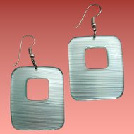 Lucite Pierced Earrings Pastel Blue Open Work Rectangles