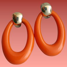 Pierced Earrings Coral Lucite Pierced