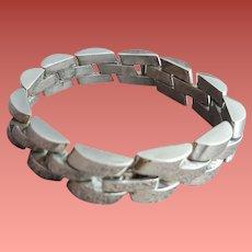 Unique Sterling Silver Bracelet 64.4 Grams Basket Weave