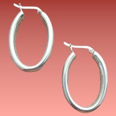 Sterling Silver Earrings Oval Hoops 5 Grams Sophisticated