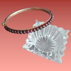 Garnet Bead Bangle Bracelet Unique Clasp