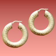18K Yellow Gold Hoop Pierced Earrings 5.7 Grams