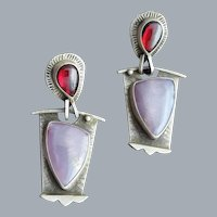 Sterling Amethyst Garnet Pierced Earrings 9.6 Grams