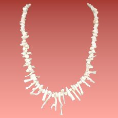 White Branch Coral Necklace Whisper of Pink