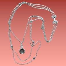 Intaglio and Crystal Necklace Goldette Multi Strand
