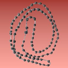 Victorian Rose Bead Necklace Hand Rolled 41 inches