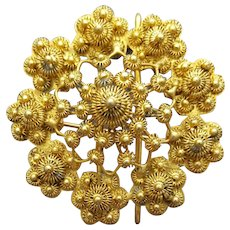 Exotic Gold Tone Brooch or Pendant Intricately Detailed Sun Bursts