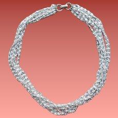 Vintage Aluminum Necklace Multi Strand Fluid Chain