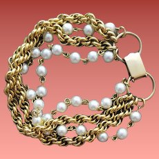 Chain and Faux Pearl Bracelet Celebrity 8 Inches