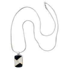 Long Sterling Onyx Mother of Pearl Necklace