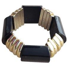 1980s Stretch Bracelet Black Lucite Gold Tone