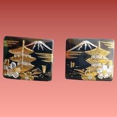Sterling Silver Cuff Links Damascene Japan 11.5 Grams