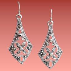 Marcasite Pierced Earrings Art Deco Style