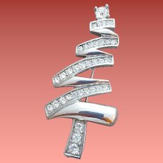Monet Rhinestone Christmas Tree Brooch