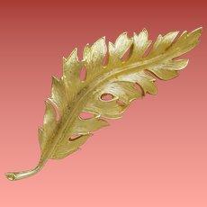 Gold Tone Leaf Brooch by Coro Mid Century