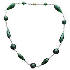 Green Italian Art Glass Murano Bead Necklace