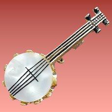 Four String Banjo Brooch Fun Vintage Pin