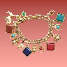 1960s Charm Bracelet 16 Charms Horse Theme