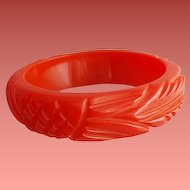 Carved Red Bakelite Bangle Bracelet Wide Yummy Licorice