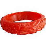Carved Red Bakelite Bangle Bracelet Wide Yummy Licorice