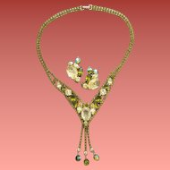 Alice Caviness Necklace and Earrings Parure Dripping with Rhinestones