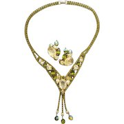 Dripping Rhinestone Alice Caviness Necklace and Earrings Parure