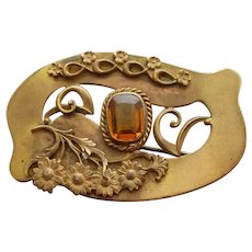 Victorian Art Nouveau Brooch with Topaz Rhinestone Sash Pin