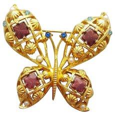 Beautiful Butterfly Brooch Rhinestones Faux Pearls