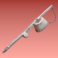 Sterling Silver Tie Bar Fishing Rod Wicker Creel and Fish by Beau