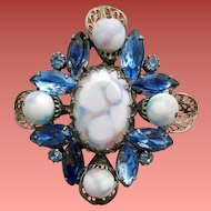 Large 1960s Art Glass and Rhinestone Brooch Beautiful Blues