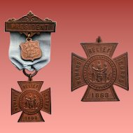 Woman's Relief Corps Medal President Badge GAR Military Auxiliary 1883
