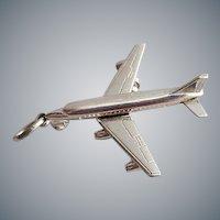Sterling Silver Bracelet Charm Airplane Passenger Jet Wheels Move