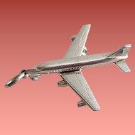 Vintage Sterling Silver Bracelet Charm Airplane Passenger Jet Wheels Move