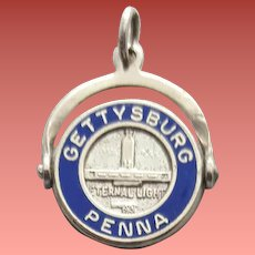 Spinning Enameled Sterling Silver Bracelet Charm Gettysburg 2.2 Grams