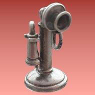Moving Sterling .925 Bracelet Charm Candlestick Telephone 5.2 Grams