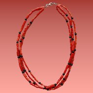 Triple Strand Red Coral Bead Necklace 1970s Vintage