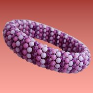 1960's Bracelet Bead Wrapped Bangle Purple Lavender