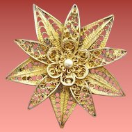 Vintage Cannetille Filigree Brooch Italian Wire Work Gold Wash