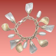 1950s - 1960s Chunky Charm Bracelet Jingling Metal Glass Lucite Charms