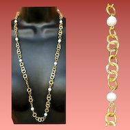 Fluid 14K Gold over Sterling Silver Necklace with Real Pearls