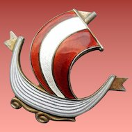 Viking Ship Pin Guilloche Enamel on Vermeil Sterling Silver Holmsen Norway