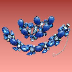 Blue Rhinestone and Art Glass Bracelet and Brooch by Regency Magnificent Parure