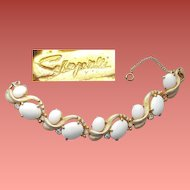 Elsa Schiaparelli Bracelet Rhinestones Winter White