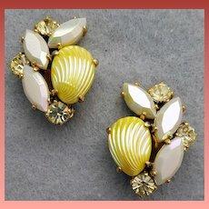 Wonderful Vintage Rhinestone Schiaparelli Earrings with Lemon Glass Shells