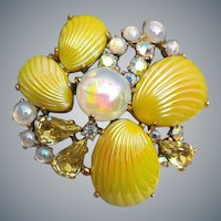 Schiaparelli Rhinestone Brooch Lemon Yellow Shell Cabochons