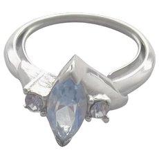 Vintage Ring Blue Rhinestones Adjustable 6-1/2 - 7-1/2 Avon Quality