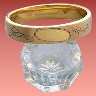 Fancy Vintage Bangle Etched Gold Filled Oval Eton Victorian Style
