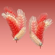 Vintage 1950s - 1960's Earrings Coral, Peach and Pink, Soft Flexible Ear Climbers